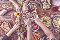 Thanksgiving Celebration Traditional Dinner Setting Food Concept. top veiw. toned. Thanksgiving Celebration Traditional Dinner Setting Food Concept.toned. top Royalty Free Stock Photography