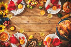 Thanksgiving celebration traditional dinner setting meal concept. With copy space royalty free stock images