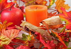 Thanksgiving Centerpiece. Corn husks, apples, berries, leaves and candle representing harvest or thanksgiving stock photography