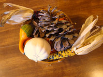Thanksgiving centerpiece. Fall and Thanksgiving themed centerpiece Royalty Free Stock Photos