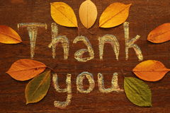 Thanksgiving. Chalk  inscription thank you and autumn leaves Stock Photography
