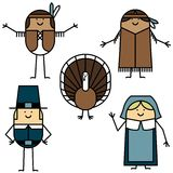 Thanksgiving characters Royalty Free Stock Photos