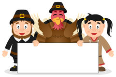 Thanksgiving Characters with Banner [1] Royalty Free Stock Photo