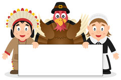 Thanksgiving Characters with Banner [2] Stock Images