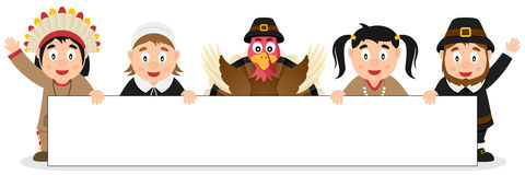 Thanksgiving Characters with Blank Banner Royalty Free Stock Photos