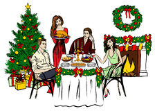Thanksgiving or Christmas dinner Royalty Free Stock Images