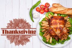 Thanksgiving or Christmas. Homemade roasted whole turkey on wooden table. Thanksgiving Celebration Traditional Dinner Setting. Food Concept stock photos