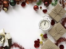 Thanksgiving and Christmas with New year 2019. Decorative design Thanksgiving and Christmas with New year 2019, on a white table. Top view, flat lay. Copy space stock photos