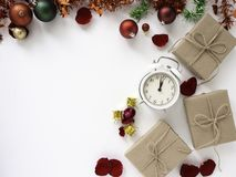 Thanksgiving and Christmas with New year 2019. Decorative design Thanksgiving and Christmas with New year 2019, on a white table. Top view, flat lay. Copy space stock image