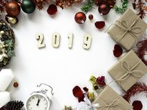 Thanksgiving and Christmas with New year 2019. Decorative design Thanksgiving and Christmas with New year 2019, on a white table. Top view, flat lay. Copy space royalty free stock image
