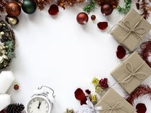 Thanksgiving and Christmas with New year 2019. Decorative design Thanksgiving and Christmas with New year 2019, on a white table. Top view, flat lay. Copy space royalty free stock photography