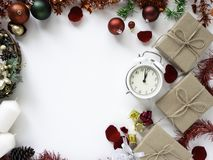 Thanksgiving and Christmas with New year 2019. Decorative design Thanksgiving and Christmas with New year 2019, on a white table. Top view, flat lay. Copy space stock photo