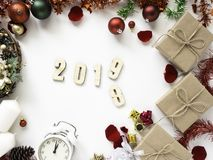 Thanksgiving and Christmas with New year 2019. Decorative design Thanksgiving and Christmas with New year 2019, on a white table. Top view, flat lay. Copy space royalty free stock images