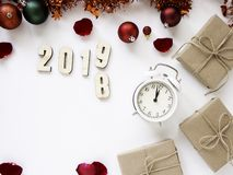Thanksgiving and Christmas with New year 2019. Decorative design Thanksgiving and Christmas with New year 2019, on a white table. Top view, flat lay. Copy space royalty free stock photos