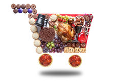 Thanksgiving christmas shopping cart Royalty Free Stock Images