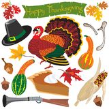 Thanksgiving clipart icons. And elements for autumn Stock Photo