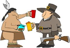 Thanksgiving Coffee. This illustration depicts a native American Indian and a Pilgrim sharing coffee from a pot Stock Images