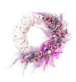 Thanksgiving colorful decorative wreath for door with flowers isolated Stock Images