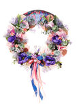 Thanksgiving colorful decorative wreath for door with flowers isolated Royalty Free Stock Image