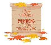Thanksgiving. Concept leaf of autumn with paper.  Stock Images