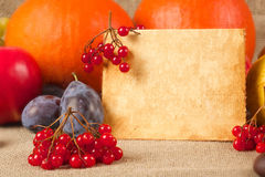 Thanksgiving congrats. Thanksgiving day congrats. Apple,viburnum,plums,grapes and pumpkin on a sackcloth.Free space for a text.Close up royalty free stock photo
