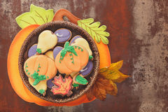 Thanksgiving cookies on rustic table Stock Images