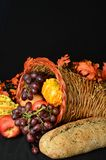 Thanksgiving Cornucopia. Beautiful array of fruits and vegetable for the autumn sean and Thanksgiving Stock Photo