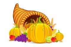 Thanksgiving Cornucopia. Vector illustration of Thanksgiving cornucopia with vegetable Royalty Free Stock Image