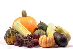 Thanksgiving cornucopia. A cornucopia of autumn harvest, isolated on white Stock Photo