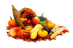 Thanksgiving cornucopia. Filled with fresh harvest vegetables Royalty Free Stock Photo