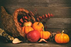 Thanksgiving cornucopia with pumpkins and apples against wood stock image