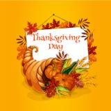Thanksgiving cornucopia plenty horn greeting card Royalty Free Stock Photo