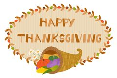 Thanksgiving Cornucopia Sign. Decorative Happy Thanksgiving sign with cornucopia. Eps10 Stock Photo