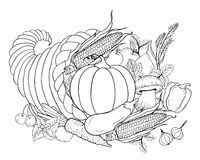 Thanksgiving cornucopia with vegetables. Horn of plenty. hand drawn vector illustration. Traditional symbol of Thanksgiving, autumn. Sketch for coloring page Royalty Free Stock Image