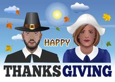 Thanksgiving couple vector illustration royalty free illustration