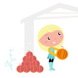 Thanksgiving cute Child with pumpkin heads. Stock Images