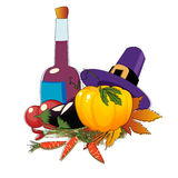 Thanksgiving day. Hat and vegetables Royalty Free Stock Photos
