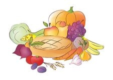 Thanksgiving Day. Vector illustration of thanksgiving day vegetables and fruits vector illustration