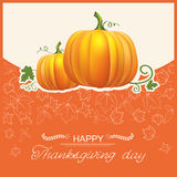 Thanksgiving day autumn card with yellow pumpkins Stock Photography