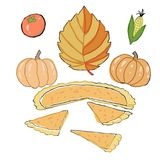 Thanksgiving Day. Autumn dry leaves, corn, tomatoes, bright pumpkins, pumpkin pie. According to the old tradition. A set of cute autumn icons: turkey, pumpkin Stock Photo
