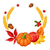 Thanksgiving Day or autumn frame. Decorative element with vegetables and leaves Stock Photography
