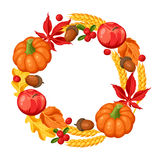 Thanksgiving Day or autumn frame. Decorative element with vegetables and leaves Stock Image