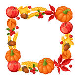 Thanksgiving Day or autumn frame. Decorative element with vegetables and leaves Royalty Free Stock Images