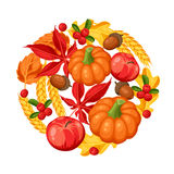 Thanksgiving Day or autumn frame. Decorative element with vegetables and leaves Stock Photo
