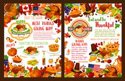 Thanksgiving day autumn holiday vector banners. Thanksgiving day holiday greeting card or poster for seasonal autumn wishes. Turkey, fruit pie or maple leaf and Royalty Free Stock Photo