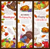 Thanksgiving day autumn holiday vector banners. Thanksgiving day banners set for seasonal autumn greeting card or wishes. Vector design of turkey, fruit pie or Stock Images