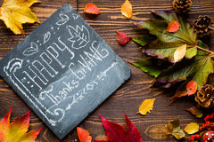 Thanksgiving day, autumn leaves background royalty free stock photo