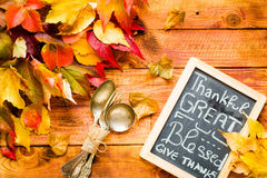 Thanksgiving day, autumn leaves background stock photo