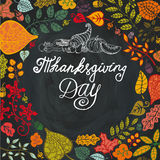 Thanksgiving day.Autumn leaves in circle Stock Photo