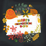 Thanksgiving day.Autumn leaves circle.Chalkboard Stock Photo